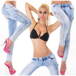 SEXY BLEACHED DRAINPIPE JEANS WITH LACING AND RHINESTONES LIGHT BLUE
