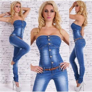 SEXY BLUE WASHED BANDEAU JEANS OVERALL MIT GÜRTEL DUNKELBLAU