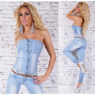 SEXY BLUE WASHED BANDEAU JEANS OVERALL MIT GÜRTEL HELLBLAU