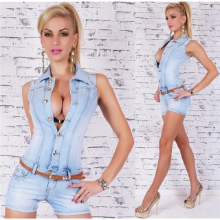SEXY BLUE WASHED HOTPANTS JEANS OVERALL MIT GÜRTEL HELLBLAU