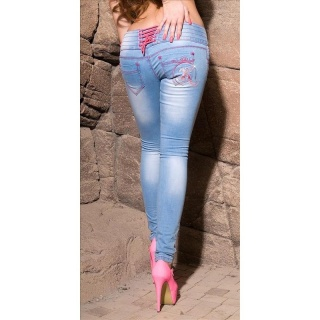 SEXY BLUE WASHED DRAINPIPE JEANS WITH LACING LIGHT BLUE/FUCHSIA