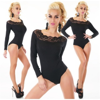 FEMININE RIB-KNITTED BODY-SHIRT WITH FINE LACE BLACK