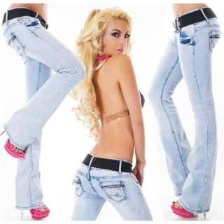 SEXY BOOTCUT JEANS WITH STRETCH-BELT BLEACHED LIGHT BLUE