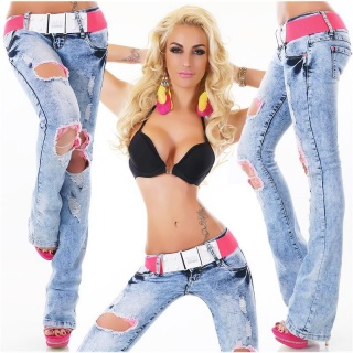 SEXY BOOTCUT JEANS IN DESTROYED-LOOK INCL. BELT BLUE/FUCHSIA