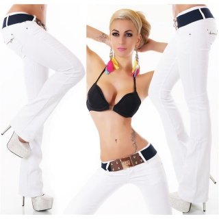 SEXY BOOTCUT JEANS WITH BUTTON FLY INCL. BELT WHITE