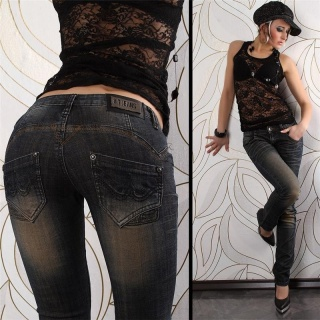 SEXY LOW-CUT BT JEANS DIRTY USED LOOK STRAIGHT LEG DARK BLUE
