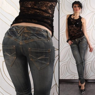 SEXY LOW-CUT BT JEANS DIRTY USED LOOK BLACK DENIM