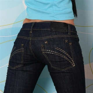 SEXY BT JEANS LOW-CUT JEANS DARK DENIM RHINESTONES DARK BLUE