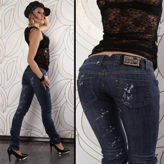 SEXY LOW-CUT BT JEANS USED LOOK DARK BLUE