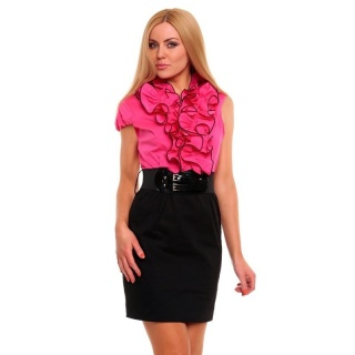 SEXY BUSINESS PENCIL DRESS WITH FRILLS BELT BLACK/FUCHSIA