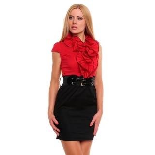 SEXY BUSINESS PENCIL DRESS WITH FRILLS BELT BLACK/RED