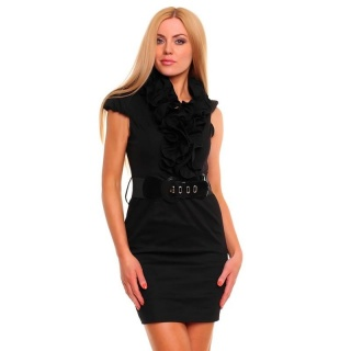 SEXY BUSINESS PENCIL DRESS WITH FRILLS BELT BLACK