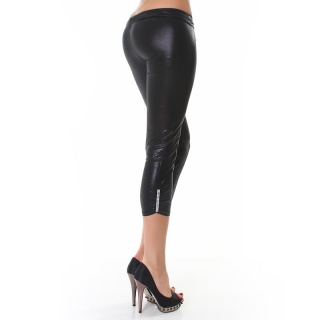 SEXY CAPRI LEGGINGS IN WETLOOK STRASS-OPTIK SCHWARZ