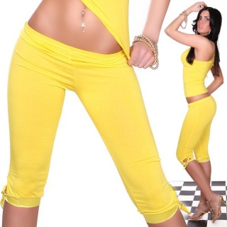 SEXY CAPRI LEGGINGS WITH SATIN YELLOW