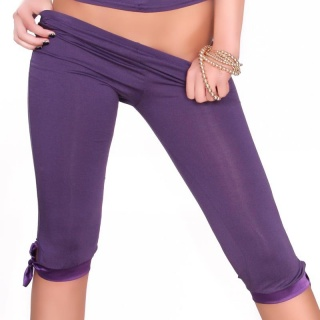 SEXY CAPRI LEGGINGS WITH SATIN PURPLE