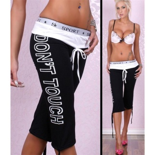 SEXY TRACKIES CAPRI TROUSERS WITH PRINT BLACK/WHITE