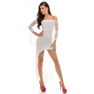 SEXY CARMEN COCKTAIL DRESS WITH LACE LATINO DRESS SALSA WHITE