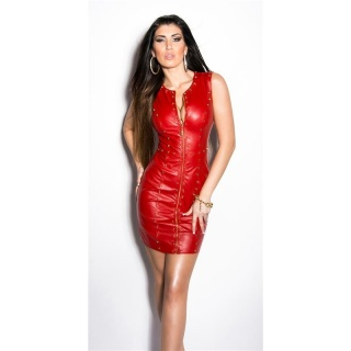 SEXY CLUB MINIDRESS IMITATION LEATHER WITH RIVETS WET LOOK RED