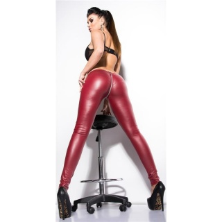 SEXY CLUBSTYLE WET LOOK LEGGINGS WITH 2-WAY-ZIPPER WINE-RED
