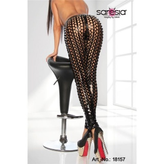 SEXY CLUBSTYLE LEGGINGS WITH HOLE PATTERN GOGO CLUBWEAR BLACK