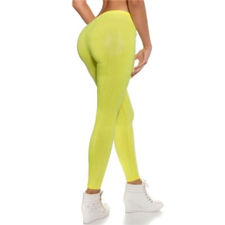 SEXY CLUBSTYLE LEGGINGS IN REPTILE-LOOK WET LOOK NEON YELLOW