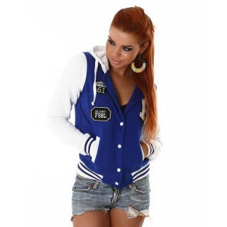 SEXY COLLEGE SWEAT-JACKET EMBROIDERY HOOD BLUE/WHITE