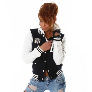 SEXY COLLEGE SWEAT-JACKET EMBROIDERY HOOD DARK BLUE/WHITE