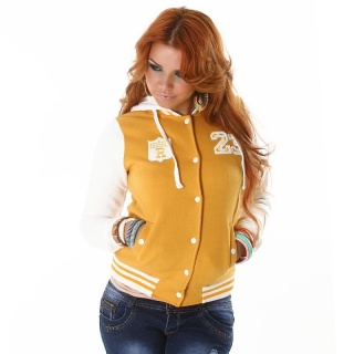 SEXY COLLEGE SWEAT-JACKET EMBROIDERY HOOD YELLOW/WHITE