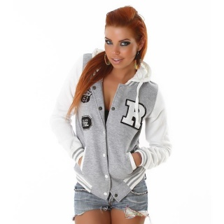 SEXY COLLEGE SWEAT-JACKET EMBROIDERY HOOD LIGHT GREY/WHITE