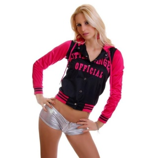 SEXY COLLEGE SWEAT-JACKET EMBROIDERY HOOD BLACK/FUCHSIA