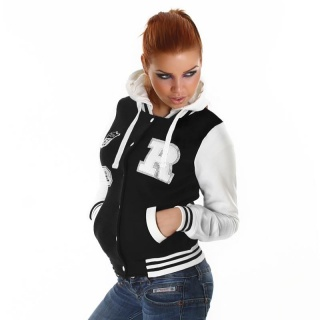 SEXY COLLEGE SWEAT-JACKET EMBROIDERY HOOD BLACK/WHITE