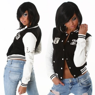 SEXY COLLEGE SWEAT-JACKET WITH EMBROIDERY BLACK / WHITE