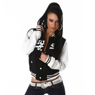 SEXY COLLEGE SWEAT-JACKET BLACK/WHITE