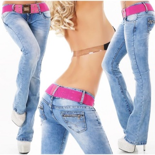SEXY LADIES BOOTCUT JEANS IN USED-LOOK WITH BUTTON FLY BLUE