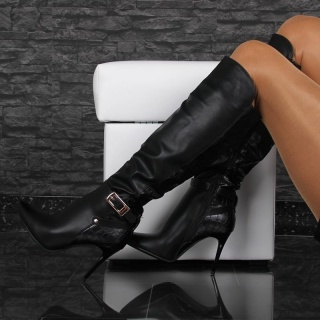 SEXY LADIES BOOTS HIGH HEELS MADE OF ARTIFICIAL LEATHER BLACK UK 3.5