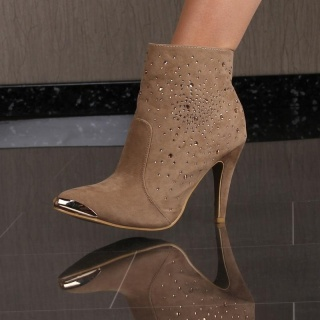 SEXY HIGH HEELS ANKLE BOOTS SHOES VELOUR KHAKI