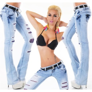 SEXY DESTROYED BOOTCUT JEANS WITH BUTTON FLY INCL. BELT LIGHT BLUE