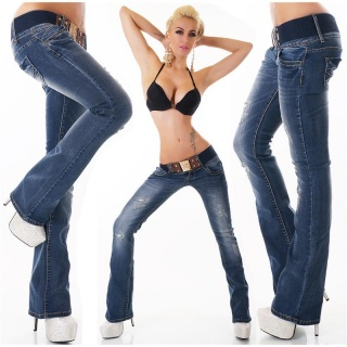 SEXY DESTROYED BOOTCUT JEANS USED-LOOK INCL. BELT DARK BLUE