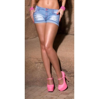 SEXY DESTROYED JEANS HOTPANTS WITH CHAINS LIGHT BLUE/FUCHSIA