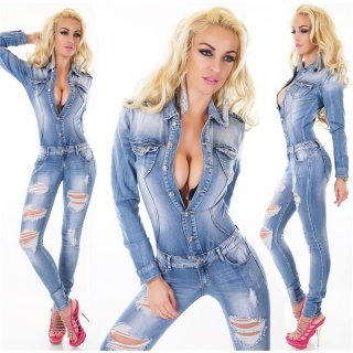 SEXY DESTROYED-LOOK JEANS OVERALL JUMPSUIT WAISTED LIGHT BLUE