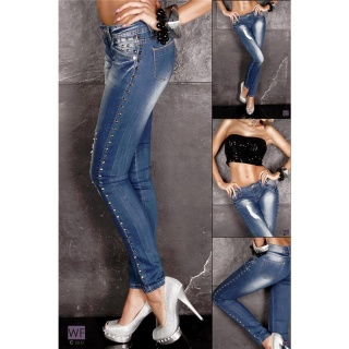 SEXY DESTROYED DRAINPIPE JEANS WITH RIVETS RHINESTONES BLUE
