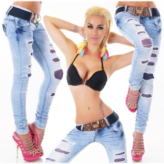 SEXY DESTROYED DRAINPIPE JEANS WITH BUTTON FLY INCL. BELT LIGHT BLUE