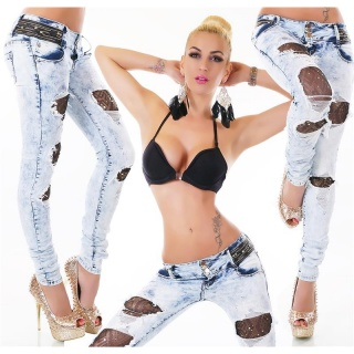 SEXY DESTROYED DRAINPIPE JEANS WITH RHINESTONES AND LACE BLUE/BLACK