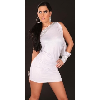 SEXY ONE-ARMED EVENING DRESS MINIDRESS GLITTER WHITE