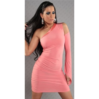 SEXY ONE-ARMED EVENING DRESS MINIDRESS WITH SATIN SALMON