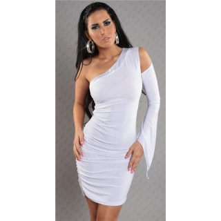 SEXY ONE-ARMED EVENING DRESS MINIDRESS WITH SATIN WHITE