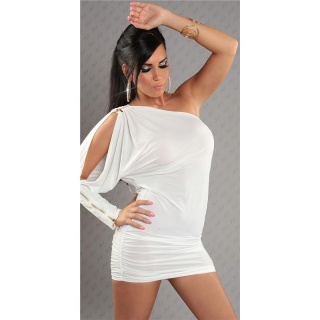 SEXY ONE-ARMED EVENING DRESS MINI DRESS WITH ZIPPER WHITE