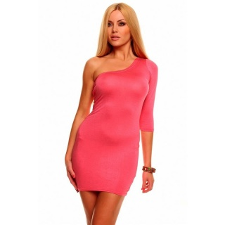 SEXY ONE-ARMED MINI DRESS CLUBWEAR SALMON
