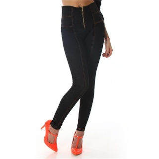 SEXY SKINNY JEGGINGS WITH HIGH WAISTBAND BLACK