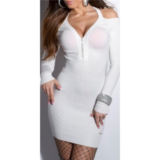 SEXY FINE-KNITTED MINIDRESS/LONG SWEATER WITH RHINESTONES CREAM
